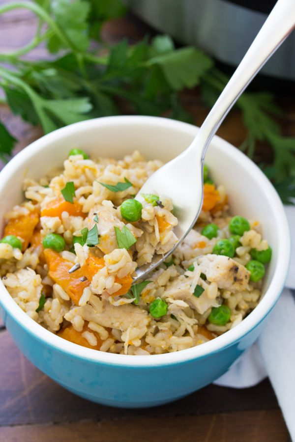 Instant Pot Chicken and Rice is an easy family dinner favorite. Brown rice, chicken and vegetables all cook together in your Instant Pot!