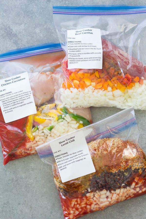 3 slow cooker freezer meals in 35 minutes! These make ahead freezer to crockpot meals are so EASY and delicious!