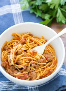 Easy Instant Pot Spaghetti is one of the best Instant Pot recipes for a fast family dinner! Everything cooks together in one pot: meat, noodles and sauce. Make this quick dinner with ground beef or turkey and whole wheat or white pasta.