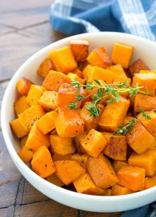 Easy Cinnamon Roasted Butternut Squash Recipe. This recipe is so simple that you can make it on a weeknight or quickly prepare it for your holiday dinner. My family loves this healthy oven baked butternut squash!