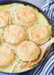 Homemade chicken pot pie with biscuits