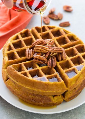 Healthy Pumpkin Waffles with Maple Syrup