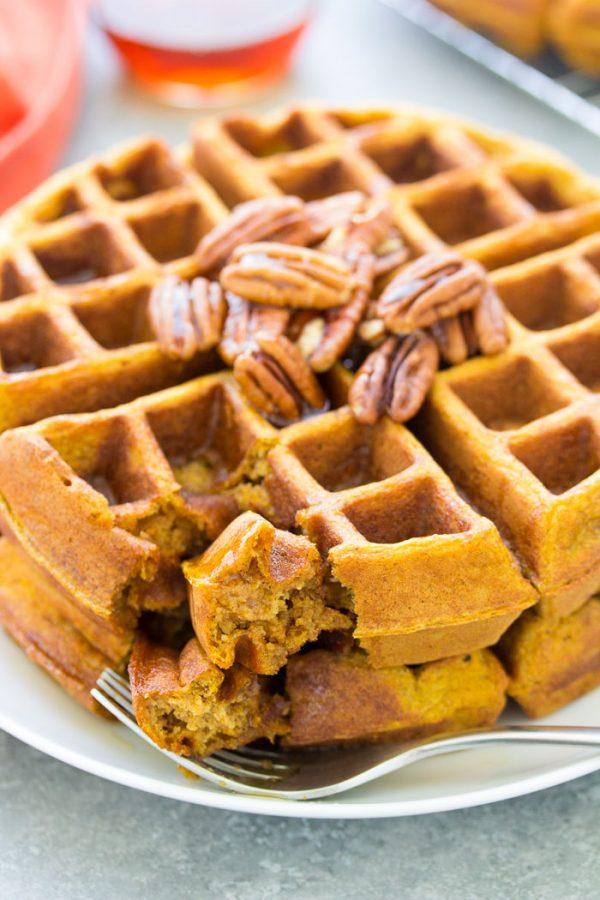 A bite of healthy pumpkin waffle
