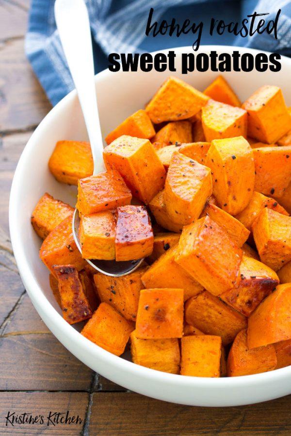 Honey roasted sweet potatoes on a spoon.