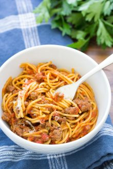 Instant Pot Spaghetti with ready to eat with spoon